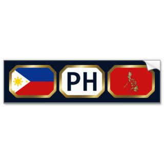 Philippines Flag Map Code Bumper Sticker