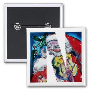CHRISTMAS N LETTER / SANTA  WITH VIOLIN MONOGRAM BUTTON