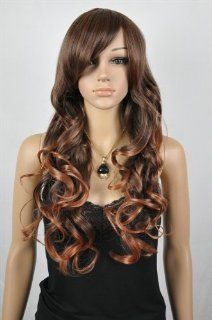 2013 Fashion Long Brown Curly Similar Human Hair Full Synthetic Wigs + Wig Cap  Hair Extensions  Beauty