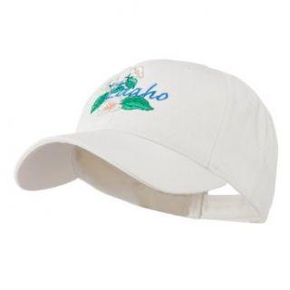 USA State Flower Idaho Mock Orange Embroidered Cap   White OSFM Baseball Caps