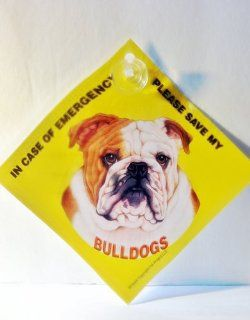 Save my BULLDOG Home Car Window Sign Pet Alert Emergency Rescue with Suction Cup
