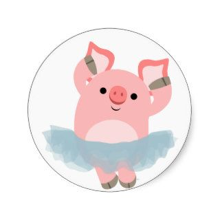 Cute Cartoon Ballerina Pig Sticker