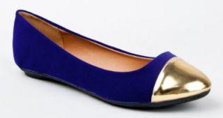Qupid SAVANA 149X Gold Cap Toe Slip On Classic Ballet Flat Dress Shoe Shoes