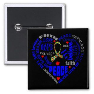 Autism Awareness Heart Words Buttons