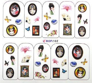 Egoodforyou BLE Water Slide Water Transfer Nail Tattoo Nail Decal Sticker Oil Portray (Chinese Ancient Beauty, Beijing Opera Beauty and China Porcelains) with one packaged nail art flower sticker bonus : Beauty