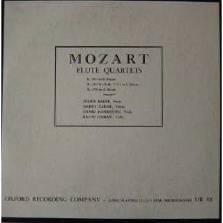 Mozart Flute Quartets: K. 285 in D Major, K. 285 B in (Anh. 171) in C Major, K. 298 in a Major: viola David Mankovitz, Harry Zarief, Ralph Oxman, Julius Baker: Music