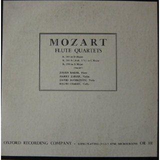 Mozart Flute Quartets: K. 285 in D Major, K. 285 B in (Anh. 171) in C Major, K. 298 in a Major: viola David Mankovitz, Harry Zarief, Ralph Oxman, Julius Baker: Music