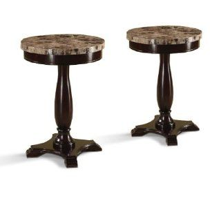 Two Marble Veneer Round Espresso End Tables Plant Lamp Stands   Plant Shelf