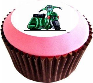 VESPA SCOOTER 12 x 38mm (1.5 Inch)Cake Toppers Edible wafer paper 197   Decorative Cake Toppers