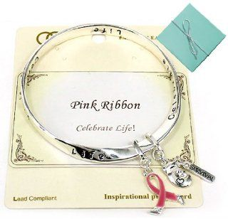 "Pink Ribbon Survival Bracelet with Boxing Gloves Charm & Inspirational Card in a Gift Box Crafted by Jewelry Nexus, Celebrate Life ""Pink is the color of Strength, the ribbon is a symbol of Hope, Together it is a sign of Victory"": Bangle Brace"