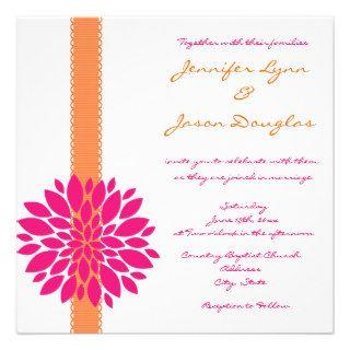 Orange Ribbon Pink Flower Wedding Invitations