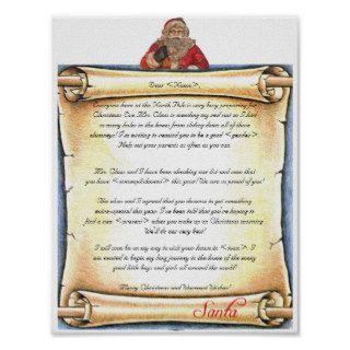 Vintage Letter Santa Print