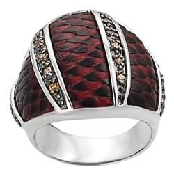 Silvertone Black and Orange Cubic Zirconia Red Scaled Vinyl Ring Tressa Cubic Zirconia Rings