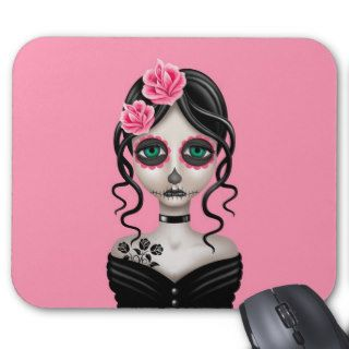 Sad Day of the Dead Girl on Pink Mousepad