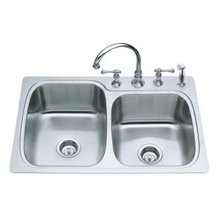 KOHLER Verse Large/Medium Self Rimming Stainless Steel 33x22x8.25 4 Hole Double Bowl Kitchen Sink K 3372 4 NA