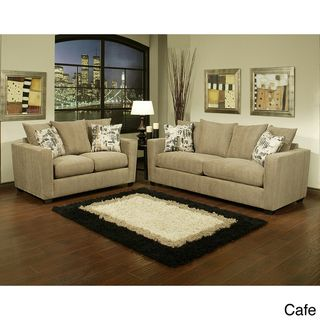 Furniture of America Alexa 2 piece Chenille Fabric Sofa and Loveseat Set Furniture of America Living Room Sets