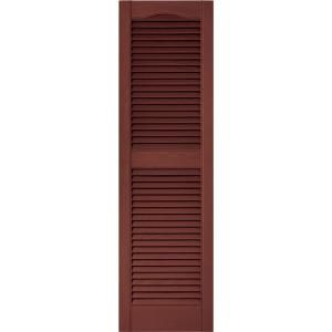 Builders Edge 15 in. x 52 in. Louvered Shutters Pair in #027 Burgundy Red 010140052027