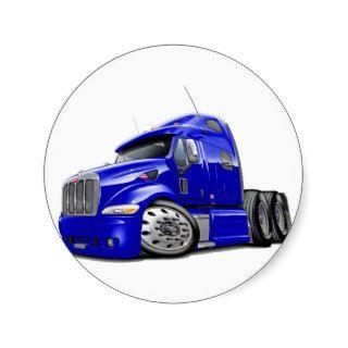 Peterbilt Blue Truck Round Sticker