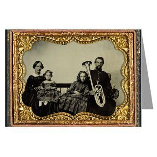 12 Vintage Notecards of Union soldier in uniform with wife and daughters holding saxhorn Ambrotype of the Civil War  Greeting Cards