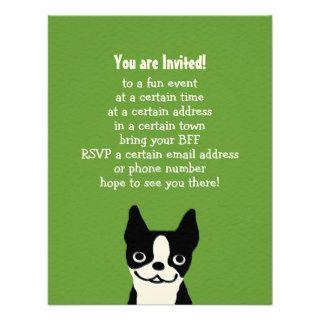 Boston Terrier   Cute Dog with Custom Text Custom Invitation