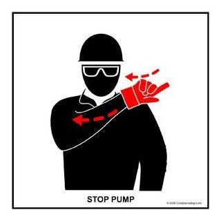 Stop Pump Label CRANE 488 Crane Hand Signals : Business And Store Signs : Office Products