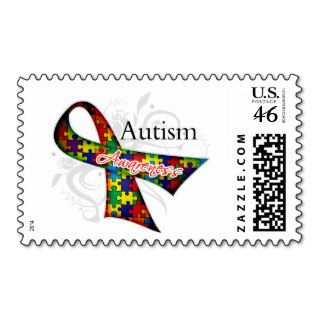 Scroll Ribbon   Autism Awareness Postage Stamps