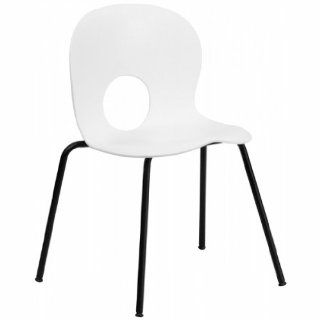 400 lb. Capacity Designer White Plastic Stack Chair with Black Powder Coated Frame Finish   Adjustable Home Desk Chairs