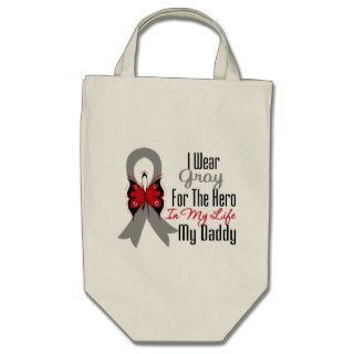 Brain Cancer Ribbon Hero My Daddy Bags