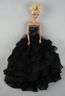 Beautiful Black Dress with Lots of Ruffles Made to Fit the Barbie Doll Toys & Games
