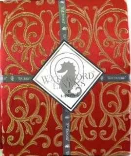 Waterford Table Linens Set of Four Cloth Napkins, Anya Red Damask