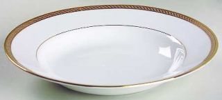 Gorham Warwick Gold 9 Soup/Pasta Bowl, Fine China Dinnerware   Gold Band W/Spir