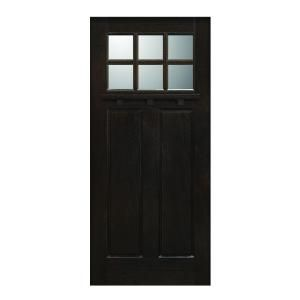 Main Door Craftsman Collection 6 Lite Prefinished Espresso Solid Mahogany Type Wood Slab Entry Door SH 706 ES