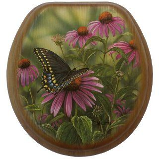 Comfort Seats C1B2R1 717  17AB Black Swallowtail Butterfly Round Oak Toilet Seat, Antique Brass