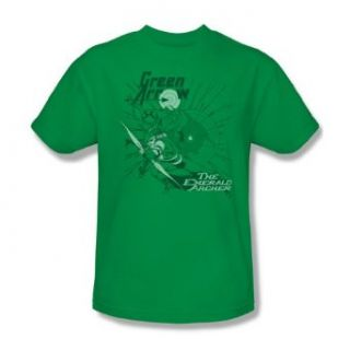 Green Arrow The Emerald Archer Adult S/S T shirt in Kelly Green by DC Comics Novelty T Shirts Clothing