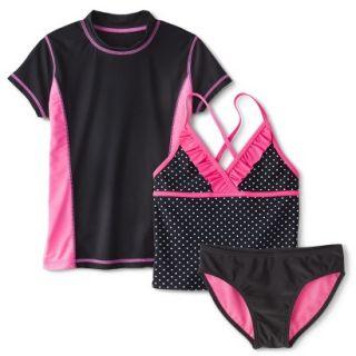 Girls Short Sleeve Rashguard, Swim Bottom and Polka Dot Tankini Top Set