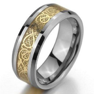 JBlue Jewelry Men's Tungsten Ring Band Silver Gold Irish Celtic Knot Dragon Vintage Wedding (with Gift Bag): Jewelry