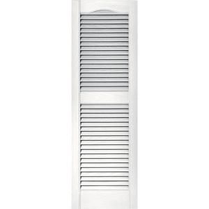 Builders Edge 15 in. x 48 in. Louvered Shutters Pair in #117 Bright White 010140048117