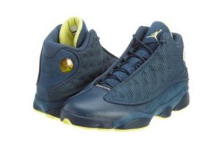Mens Nike Air Jordan Retro 13 Basketball Shoes Squadron Blue / Electric Yellow / Black 414571 405 Size 12: Shoes