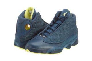 Mens Nike Air Jordan Retro 13 Basketball Shoes Squadron Blue / Electric Yellow / Black 414571 405 Size 12: Shoes