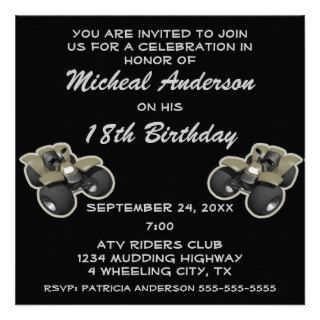 ATV Four Wheeler Wheeling Birthday Party Personalized Invite