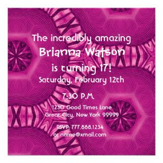 17th Birthday Big Bold Pink Flower Star Pattern Invitations