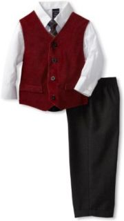 Nautica Dress Up Boys 2 7 4 Piece Vest Set, Dark Red, 7 Clothing