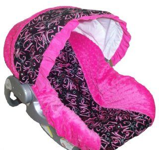 Infant Car Seat Cover, Baby Car Seat Cover, Slip Cover  LOVE Cotton & Hot Pink/Fuchsia Minky! : Baby