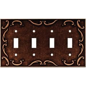Liberty French Lace 4 Gang Switch Wall Plate   Sponged Copper 64264