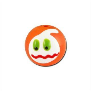 14mm Orange with White Ghoul Face Hand Painted Lampwork Beads