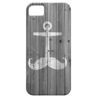Hipster white mustache anchor on retro gray wood iPhone 5 covers