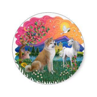 Fantasy Land (ff)   Akita Inu Round Stickers