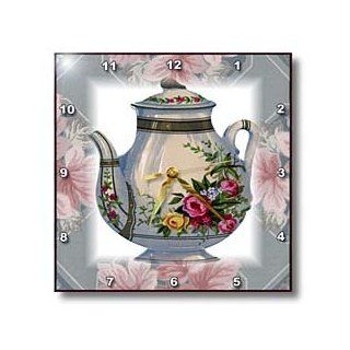 3dRose dpp_37380_1 Victorian Flower Teapot on Blue/Pink Floral Background Wall Clock, 10 by 10 Inch