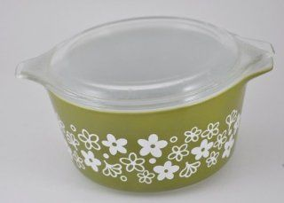 Pyrex (1 qt) Spring Blossom / Crazy Daisy Green Cinderella Casserole Baking Dish Bowl (No. 473)  Other Products