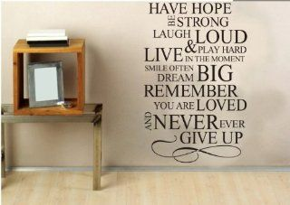 """DIY 23"""" * 15.7 """" Have Hope Be Strong Laugh Loud & Play Hard Live in the Moment Smile Often Dream Big Remember You Are Loved and Never Ever Give up Inspirational Quotes Wall Sticker Decal Room Home Decor   Childrens Wall Decor"""
